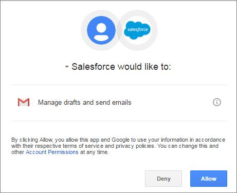 Solicitação para permitir que o Salesforce se conecte ao email externo