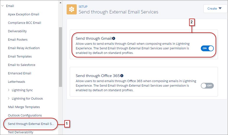 Configurações para enviar por serviços de email externos