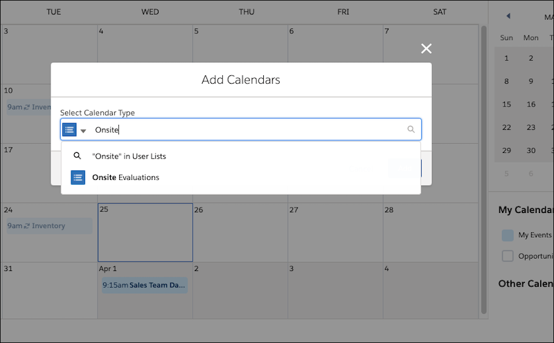 Add Calendars window, showing selection of user list.