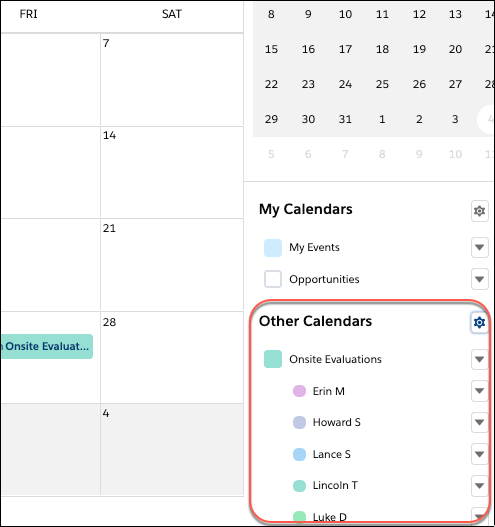 Calendar side panel showing a user list called Onsite Evaluations.