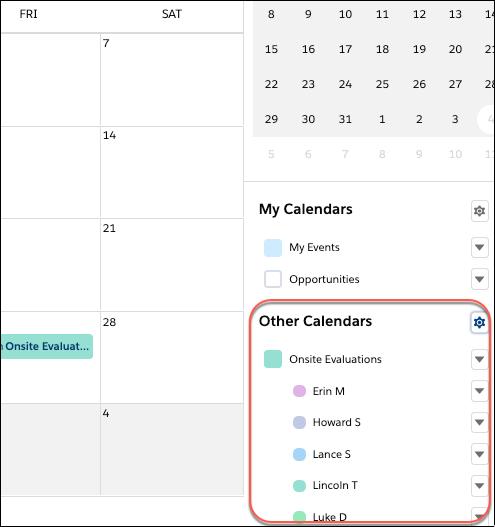 Seitlicher Bereich 'Kalender' mit einer Benutzerliste namens 'Onsite Evaluations' (Vor-Ort-Begutachtungen)