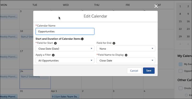 Edit object calendar window, showing the All Opportunities filter applied.