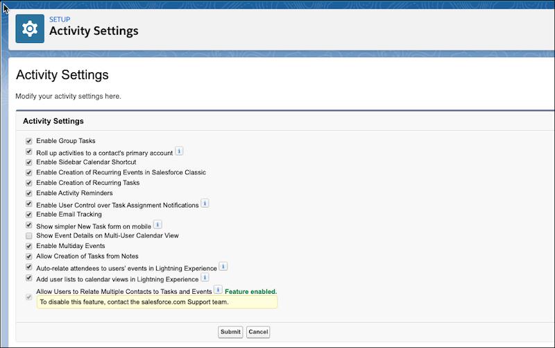 Page Paramètres d'activité dans Configuration.