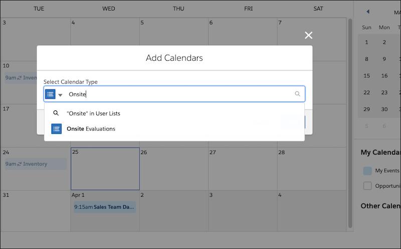 Fenêtre Ajouter des calendriers, montrant la sélection de la liste d'utilisateurs.