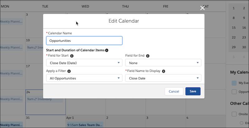 Janela Editar calendário de objeto, mostrando o filtro Todas as oportunidades aplicado.
