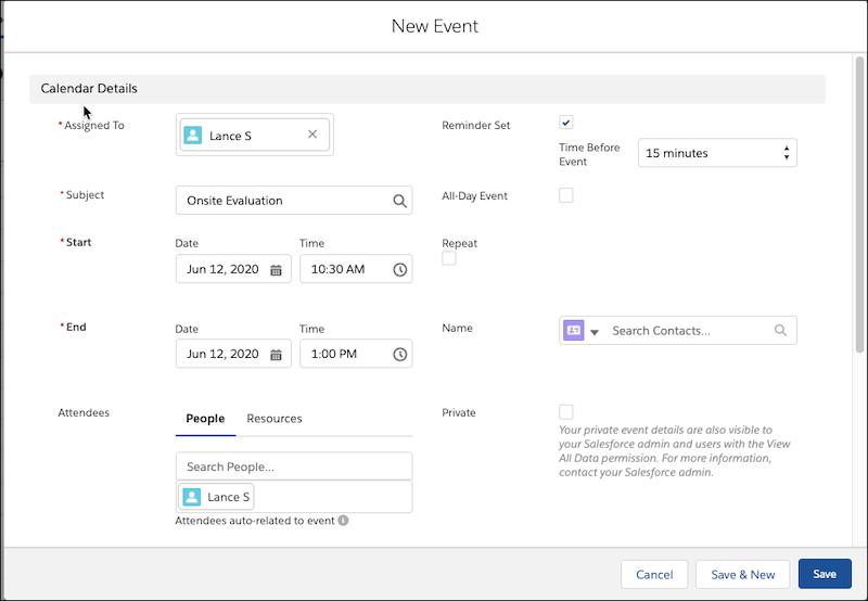 Janela Novo evento, mostrando todos os campos de layout de evento disponíveis.