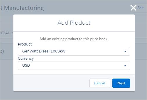 価格表への商品の追加