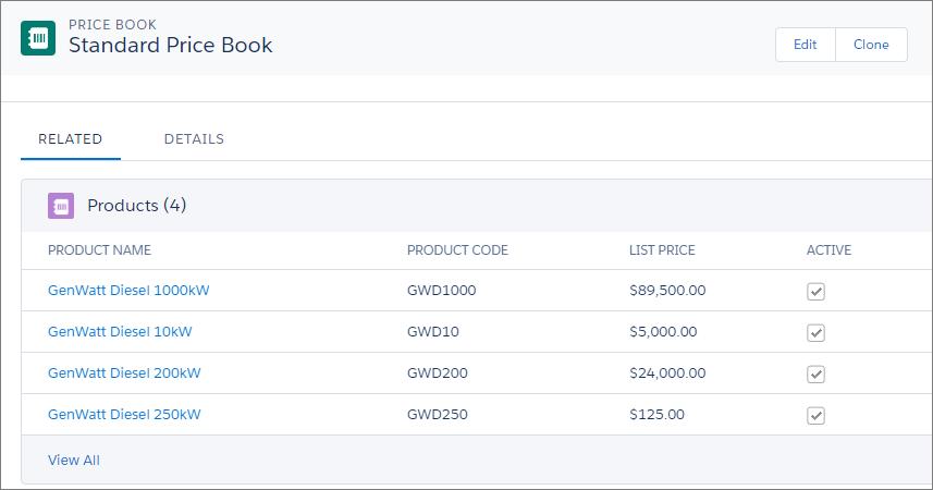 Catálogo de preços padrão