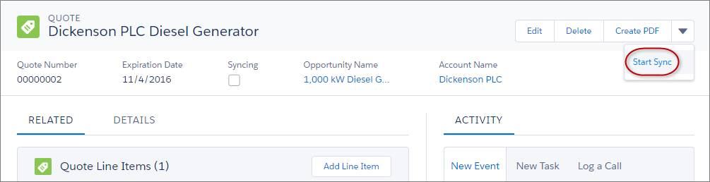 Sync Quote Line Items with Products on Opportunities