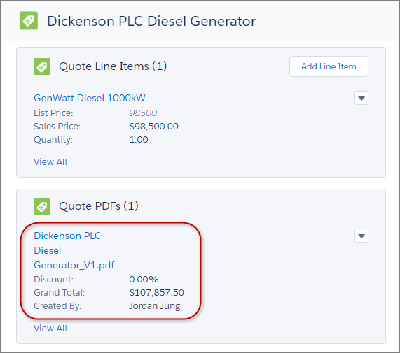 Angebots-PDF aufrufbar aus dem Angebotsdatensatz