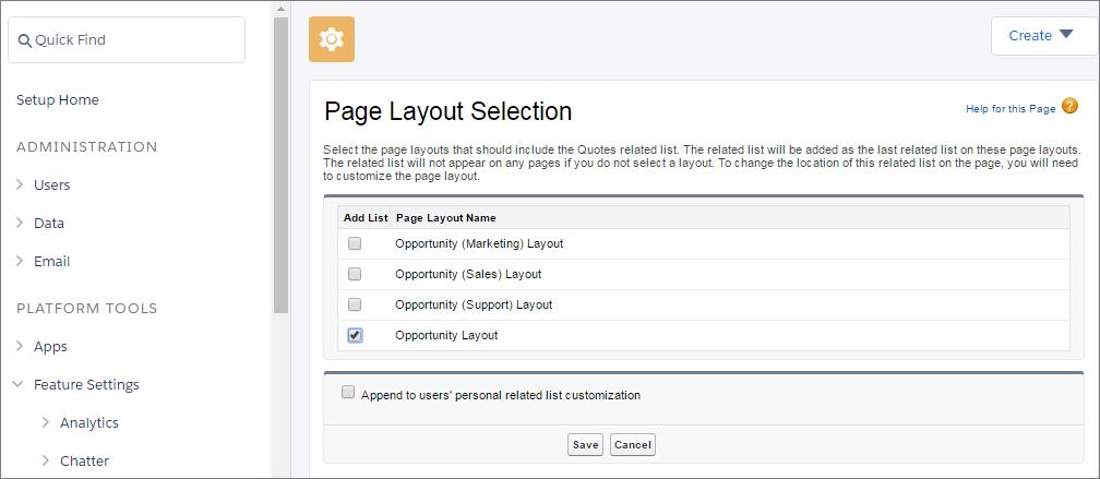 Seleccionar formatos de página en que desea que aparezcan presupuestos