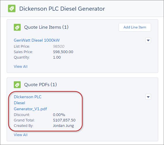 見積レコードからアクセス可能な見積 PDF ファイル