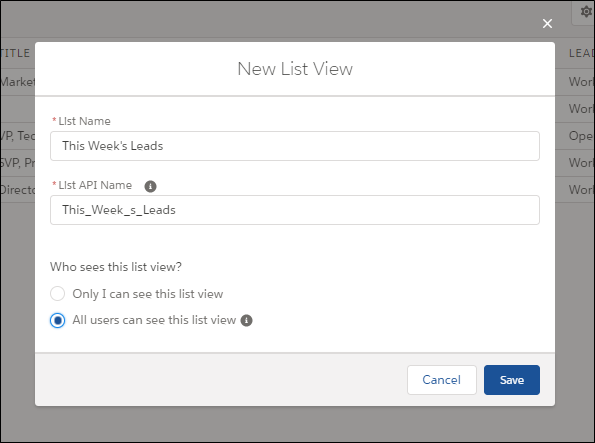 New List View Named This Week's Leads