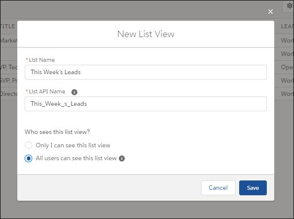 Neue Listenansicht mit dem Namen 'Leads von dieser Woche'