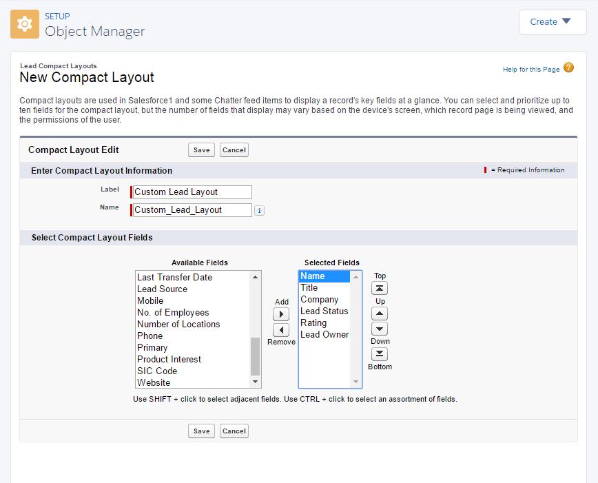 Configure um novo layout compacto.