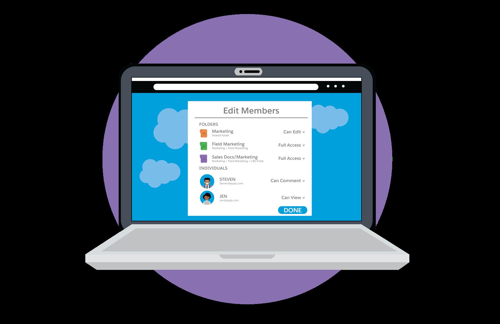 フォルダや個人ごとにメンバーの権限を編集する方法が表示されているラップトップ。