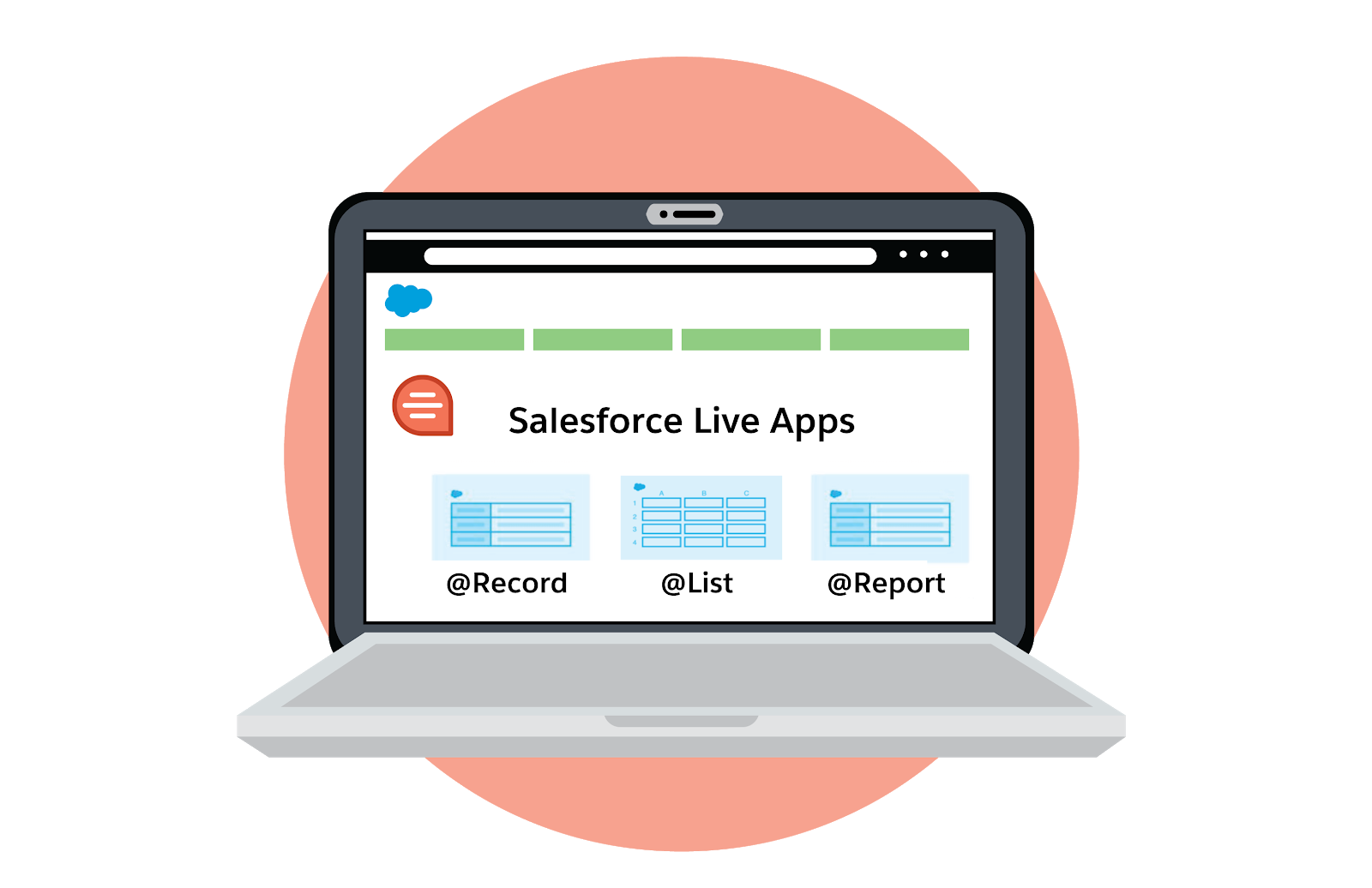 Laptop showing Salesforce Live Apps: @record, @report, @list.
