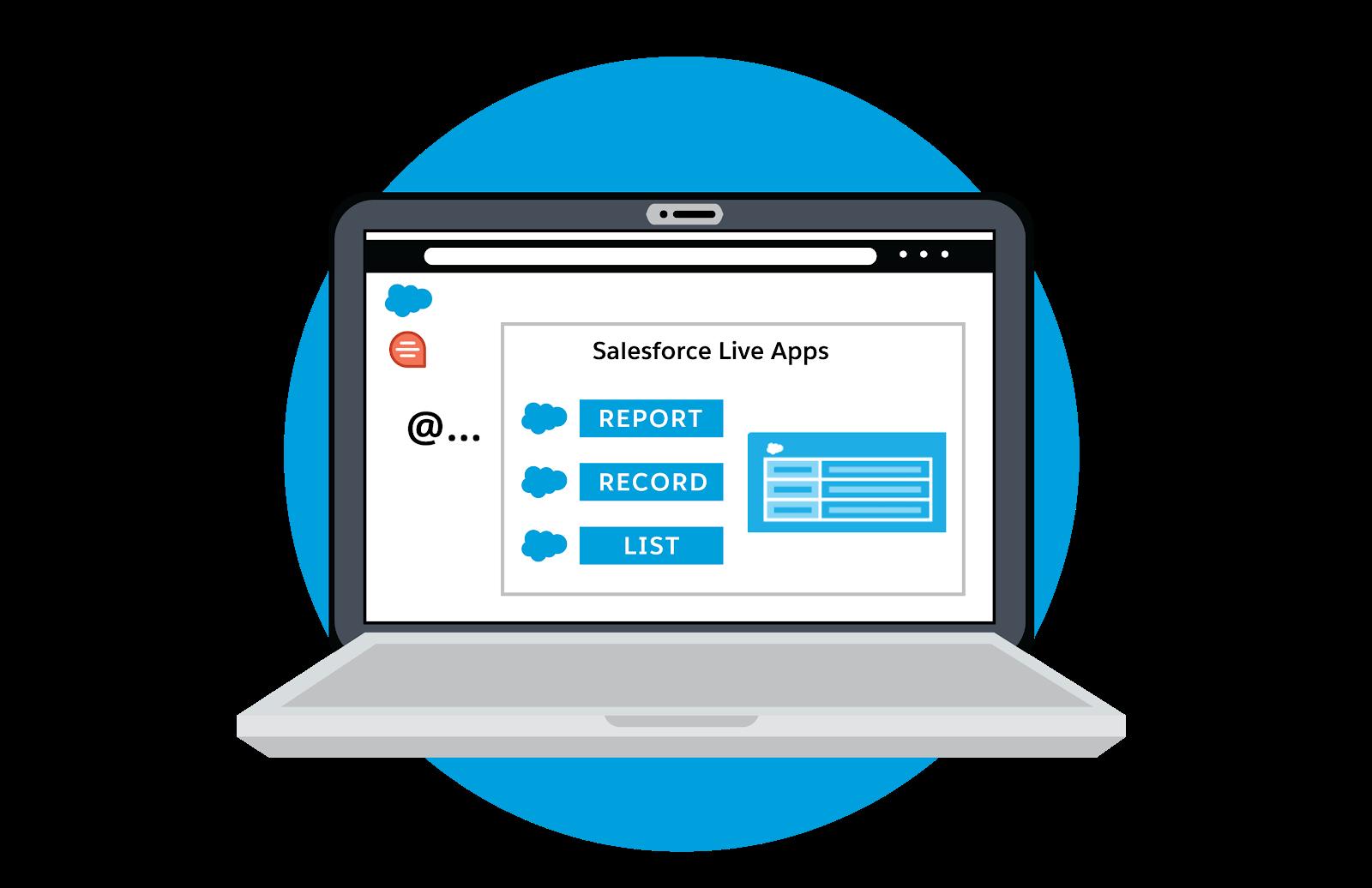 ユーザインターフェースに Salesforce ライブアプリケーション (レポート、レコード、リスト) が表示されているラップトップ。
