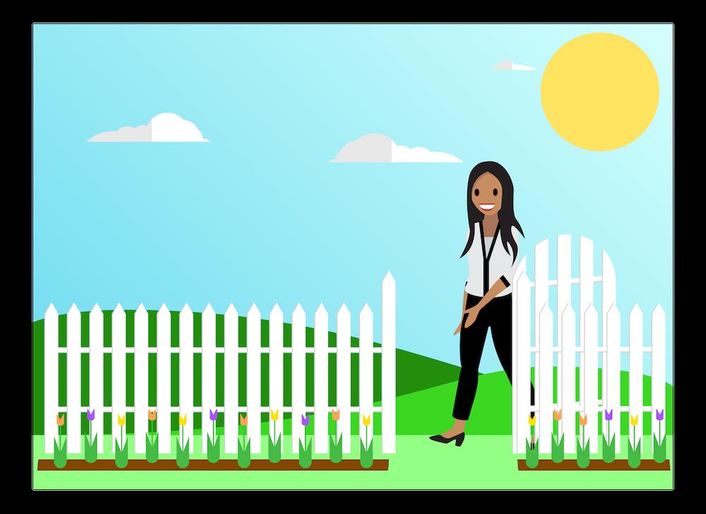 A Salesforcelandian walking through an open gate.