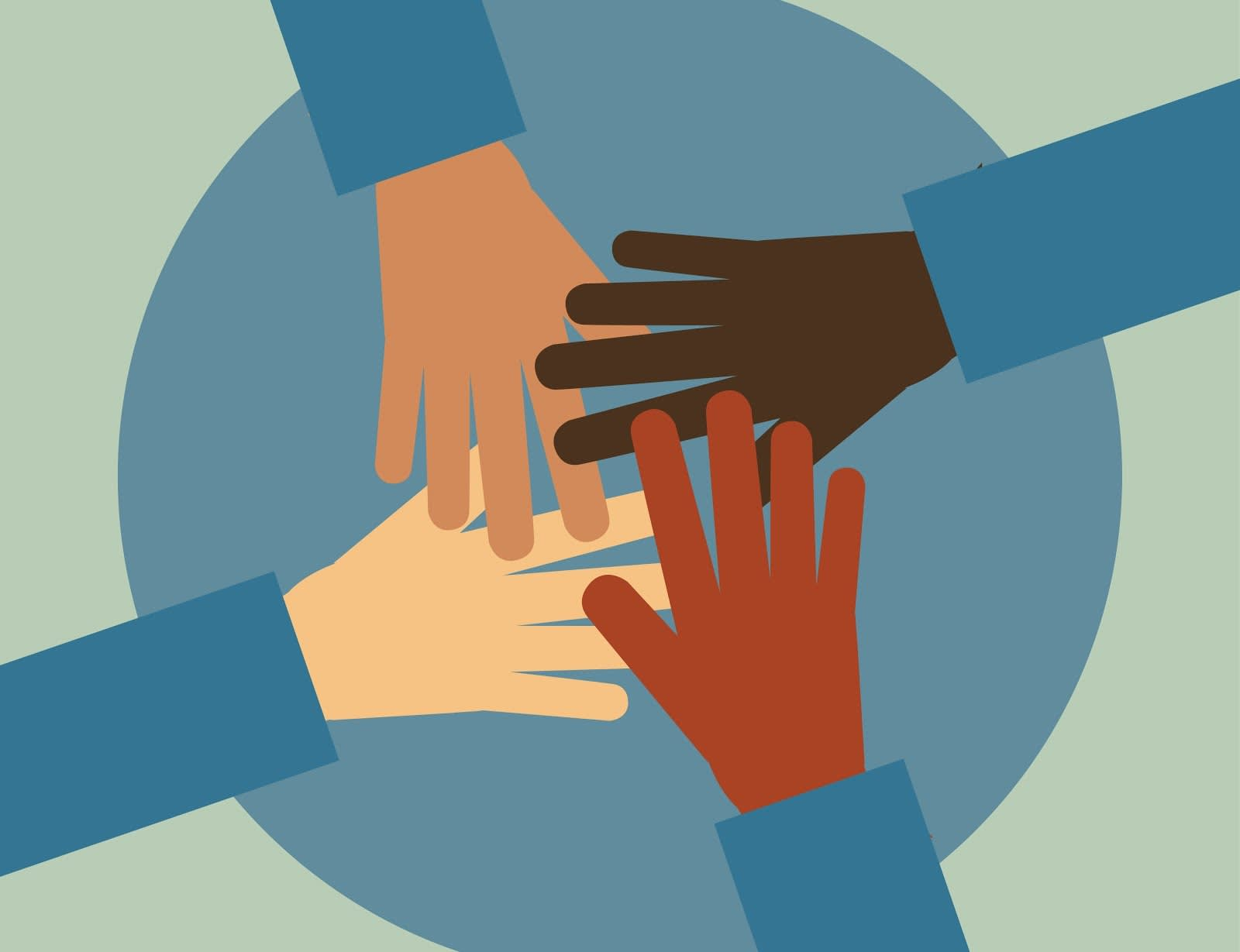 As quatro mãos que se sobrepõem num círculo representam a ideia de que, juntos, o Salesforce CPQ e o Salesforce Billing formam a única plataforma que realmente permite a colaboração multifuncional entre as áreas de vendas, operações e finanças.