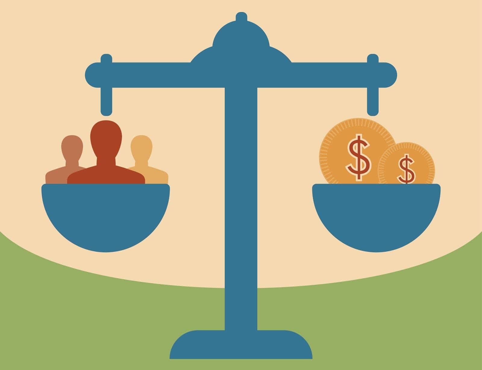 Uma balança com pessoas de um lado e dinheiro do outro representando o Salesforce Billing, que permite que as equipes do financeiro equilibrem suas obrigações com a empresa em si e com seus clientes.