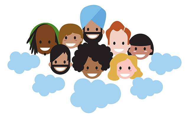 Cartoon of different headshots of folks in the cloud