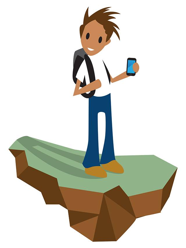 Cartoon of student on a chunk of rock