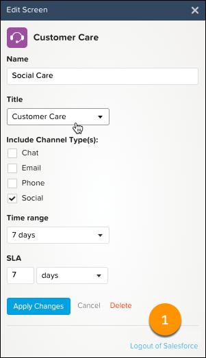 Customer Care edit screen