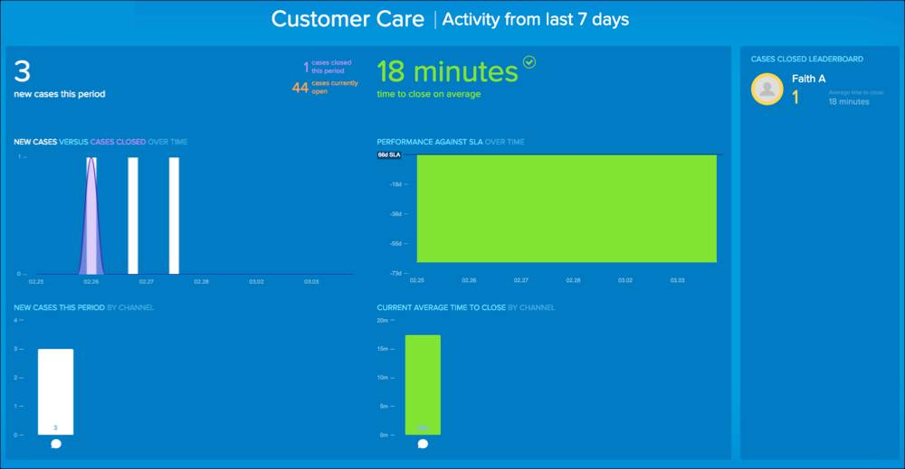 Customer Care screen example