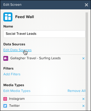 Feed Wall: Cursor selecting Edit Data Sources