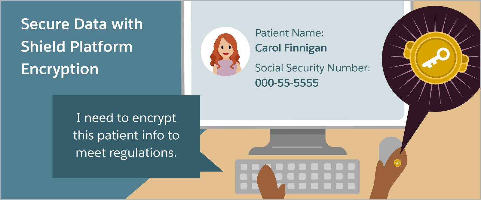 "Secure data with shield platform encryption: Someone sitting at a keyboard saying, ""I need to encrypt this patient info to meet regulations"""
