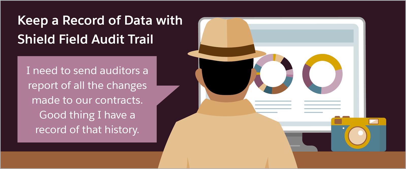 """Speichern Sie mit dem Shield-Feld-Aktivierungsprotokoll eine Aufzeichnung von Daten: Ein Detektiv, der vor einem Computer sitzt und sagt: """"Ich muss den Prüfern einen Bericht über alle Änderungen an unseren Verträgen schicken. Gut, dass ich eine Aufzeichnung dieses Vorfalls habe."""""""