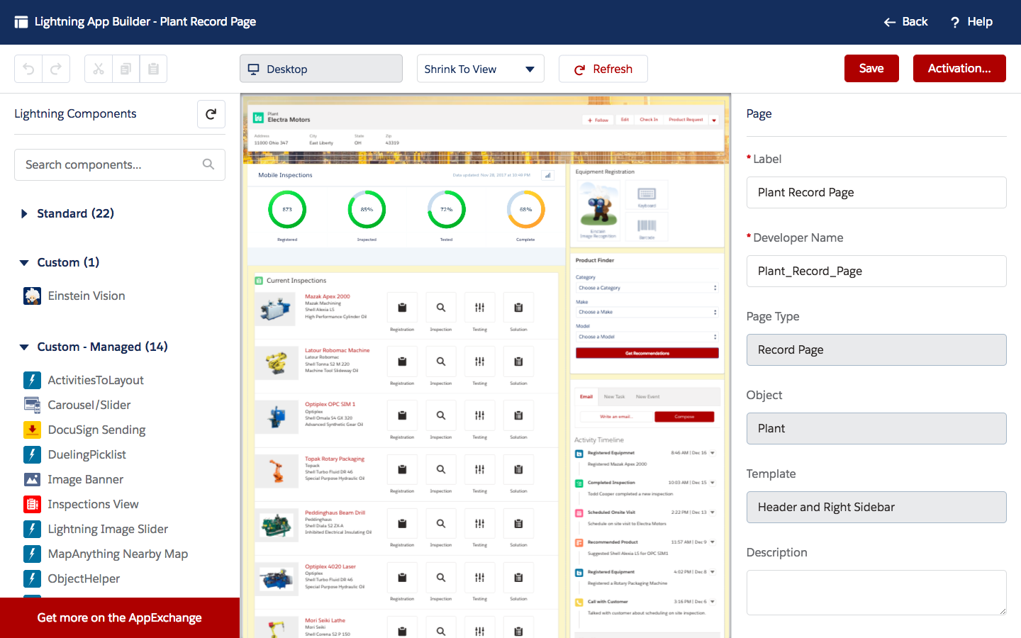 A Lightning page being customized with Lightning App Builder, using both custom and out-of-the-box Lightning components.