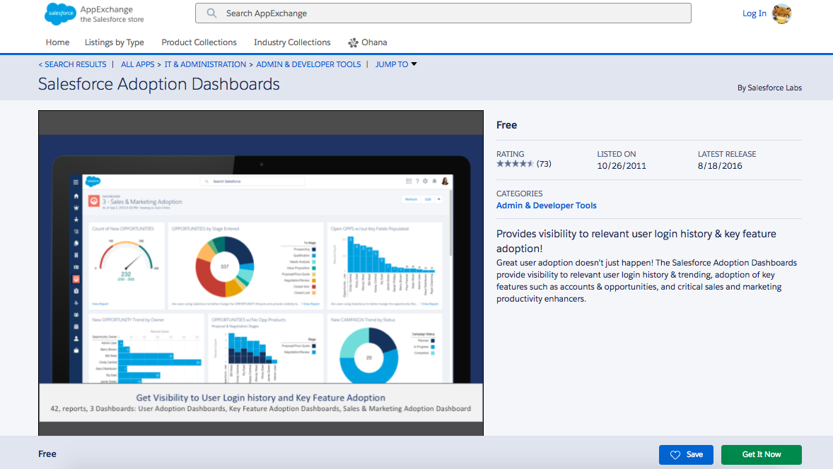 The detail page for the Salesforce Adoption Dashboards app in the AppExchange, including details about the app and a screenshot showing feature adoption dashboards.
