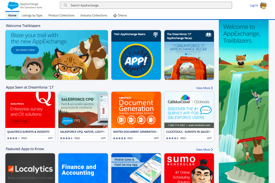The AppExchange home page
