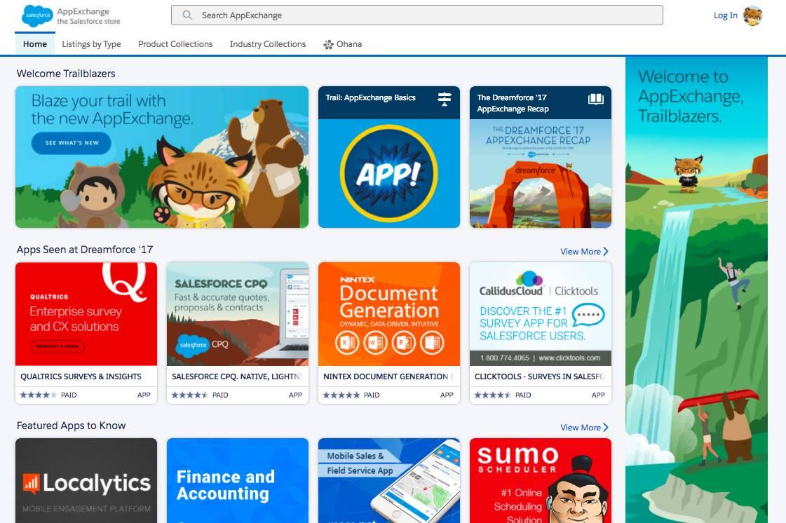 Die Startseite von AppExchange