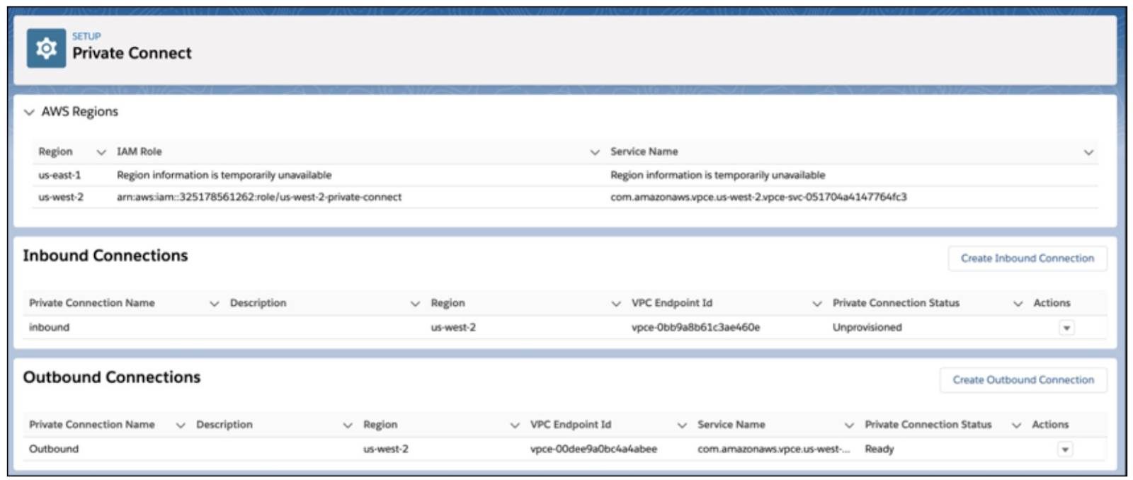 Private Connect Setup page in Salesforce
