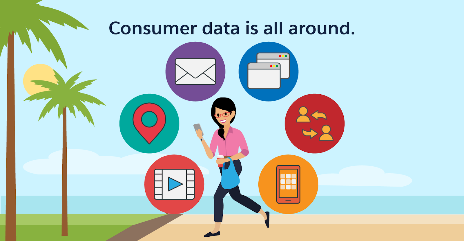 Consumer data is all around. Sarah the mathematician walks down a beach, holding her phone and carrying a coffee cup and a shopping bag. Symbols for all of the touchpoints she uses float around her: browsers, social media, apps, TV, GPS, and email.