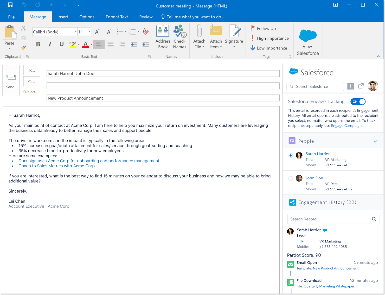 Engage for Outlook displaying Salesforce Engage Options