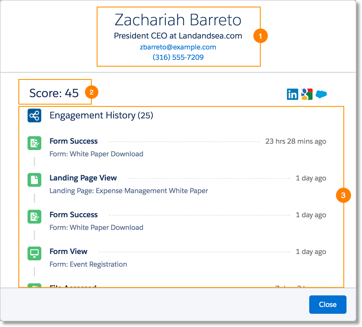Prospect card displaying contact information, Pardot score, and Engagement History