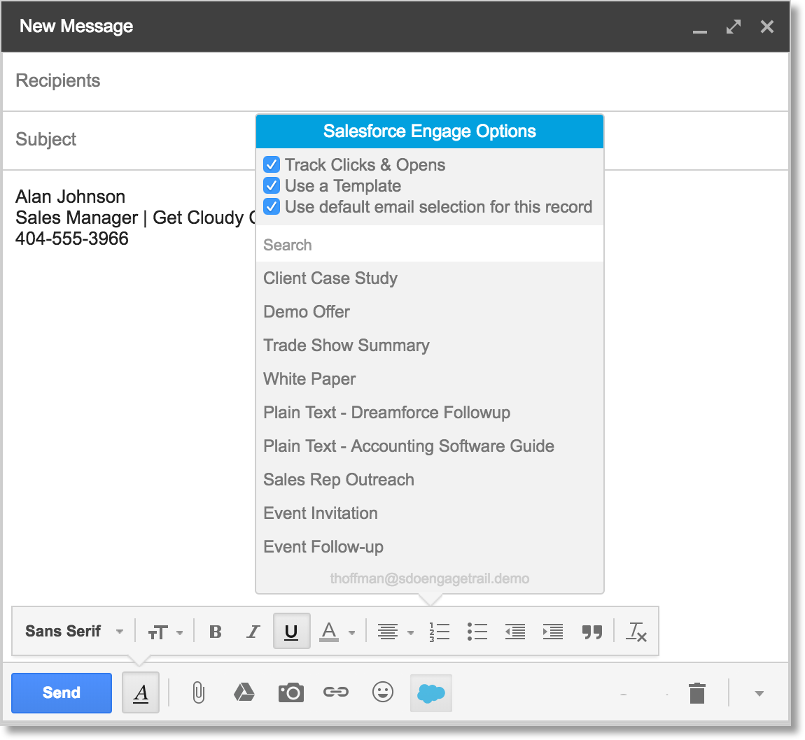[Salesforce Engage Options (Salesforce Engage オプション)] を表示する Engage for Gmail