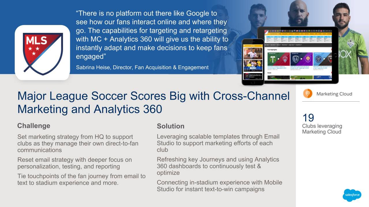 Tableau correspondant à la section « La Major League Soccer marque de nombreux points grâce au marketing multicanal et à Analytics 360 ».