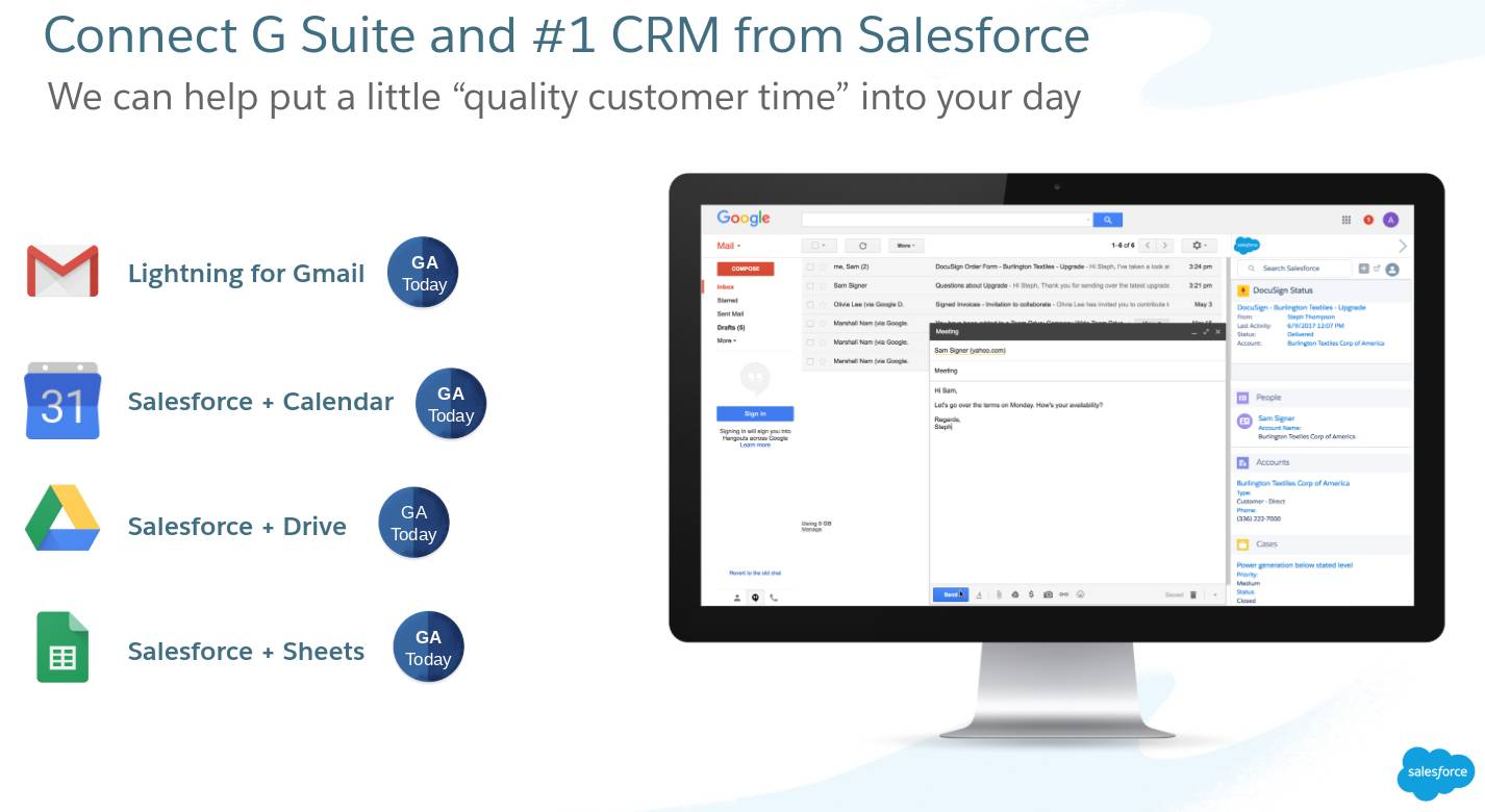 Connect G Suite and #1 CRM from Salesforce.