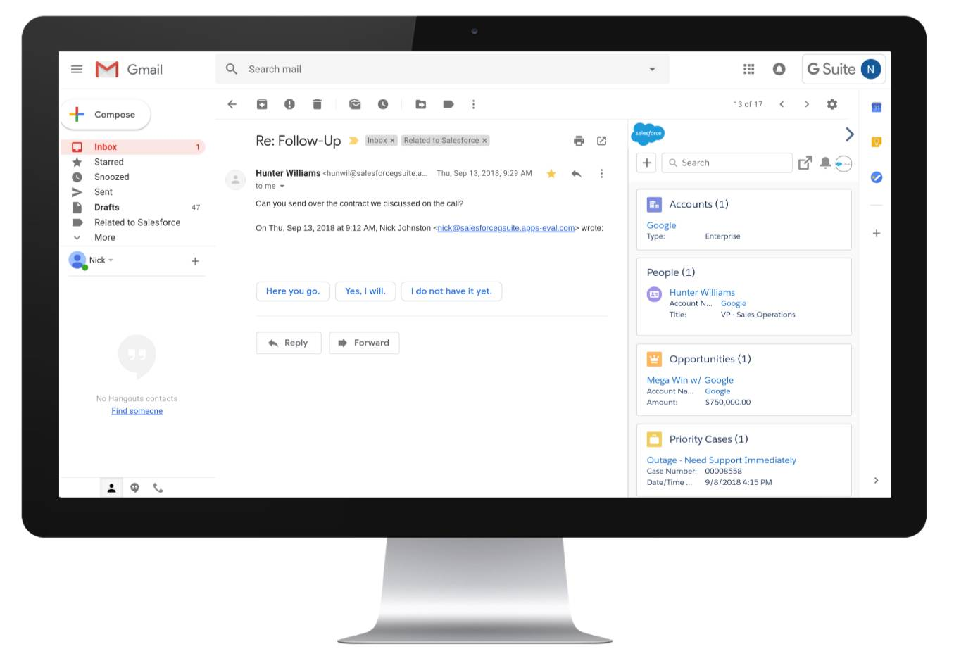 Die Gmail-Anwendung mit geöffneter Salesforce-Randleiste, die Personen und Konten in Zusammenhang mit der geöffneten E-Mail anzeigt.