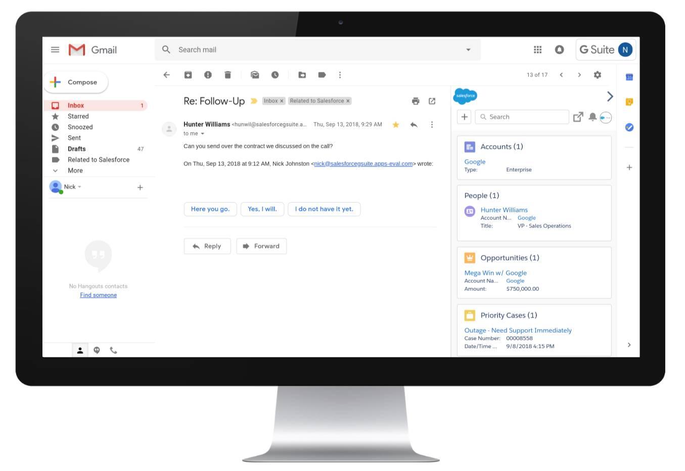 Salesforce サイドバーが開いている Gmail アプリケーション。開封したメールに関連する人々と取引先が表示されています。