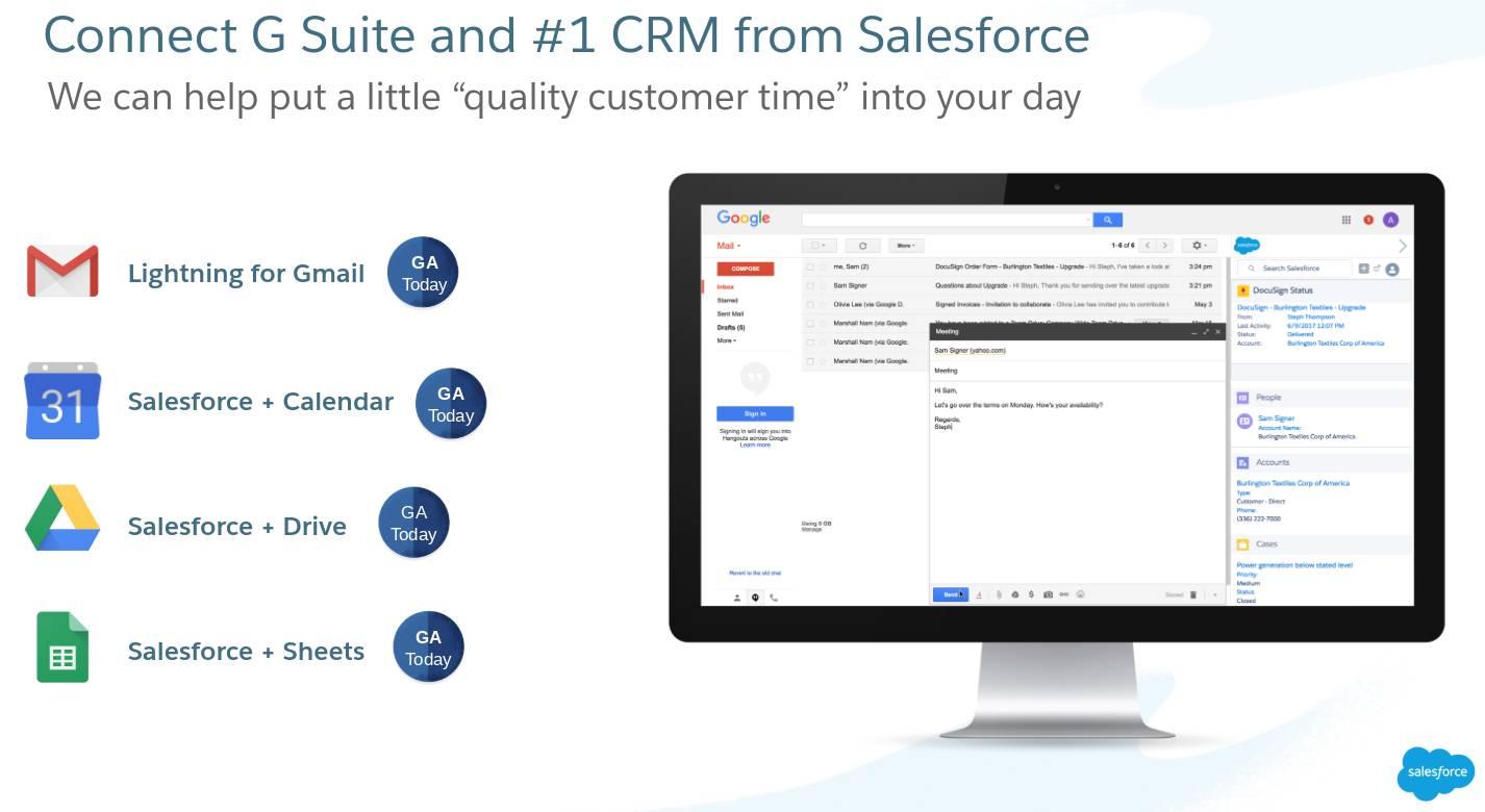 Conecte o G Suite e o CRM líder mundial da Salesforce.