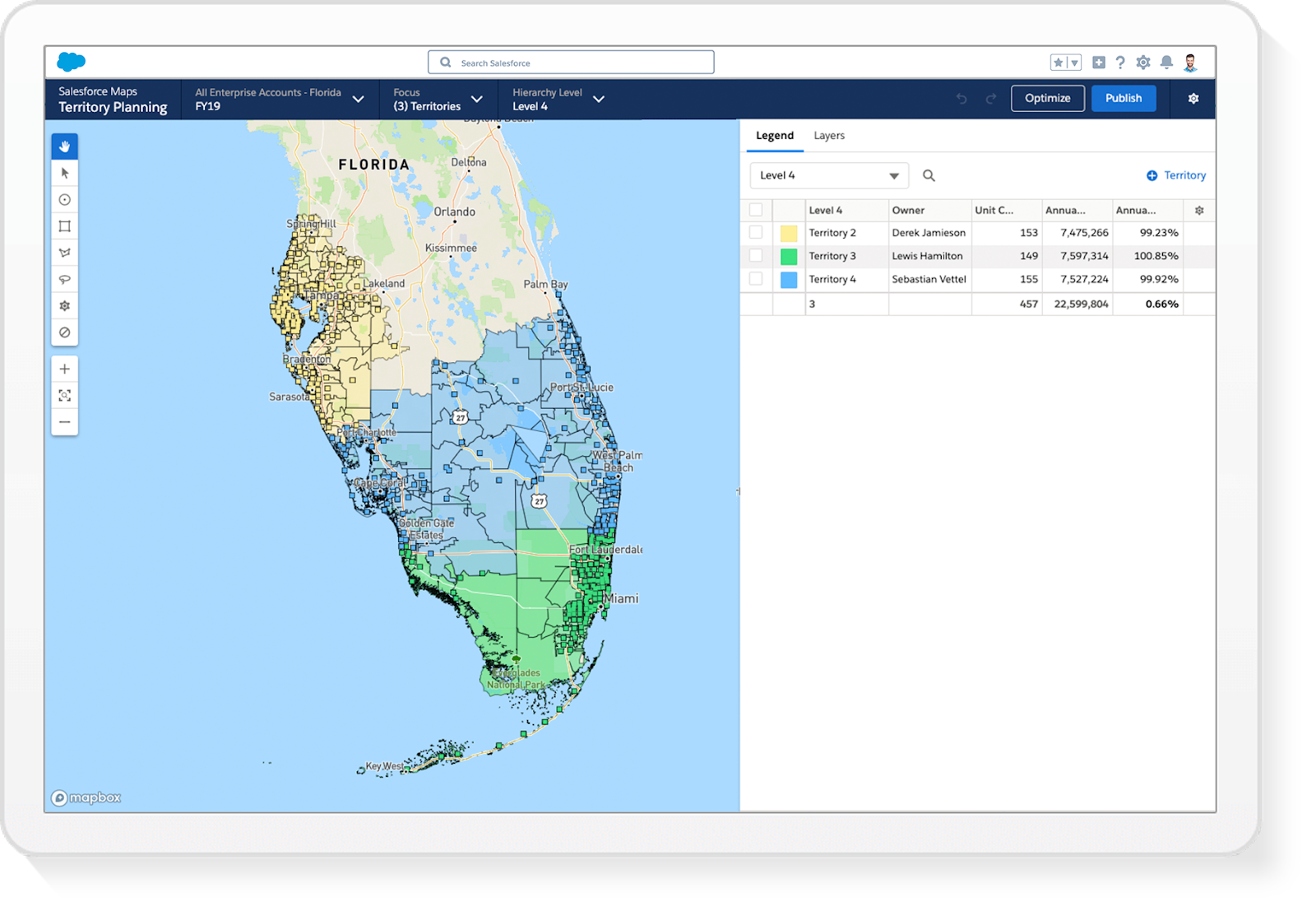 Screenshot showing a map of Florida. Sections of the map are shaded different colors, green, blue, and yellow to illustrate different territories. A legend on the right displays a table of each territory, the territory owner and other columns such as annual review for each territory.
