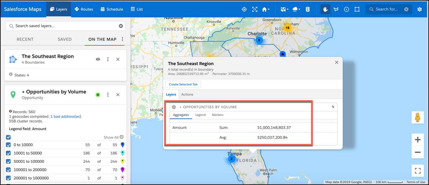 Screenshot shows an opportunity marker layer plotted on the map. The Southeast Region shape layer is also plotted and displayed as a boundary around each State on the map. Florida is selected and the aggregated data of all opportunities in Florida is highlighted.
