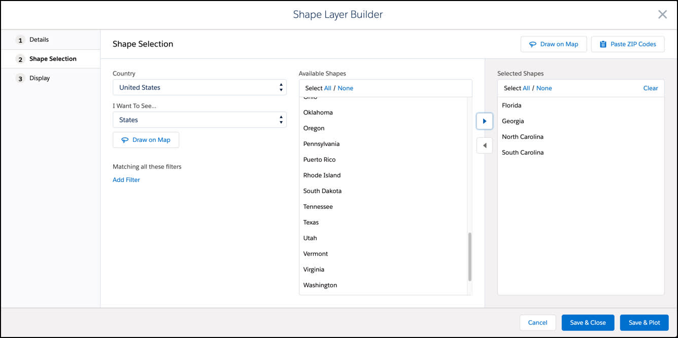 Screen shot shows the Shape Layer Builder with the following States selected, Florida, Georgia, North Carolina and South Carolina.