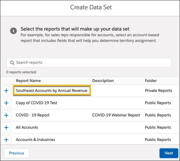 In the Configure Data Set menu, select the report(s) that make up your territory Data, the Southeast Accounts by Annual Revenue is selected.